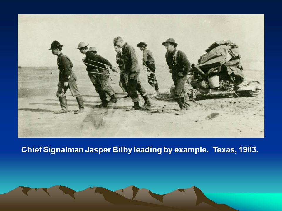 Chief Signalman Jasper Bilby leading by example. Texas, 1903.
