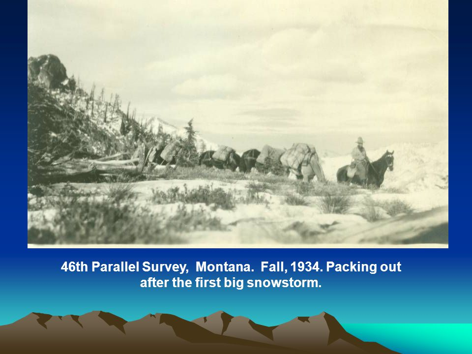 46th Parallel Survey, Montana. Fall, 1934. Packing out after the first big snowstorm.