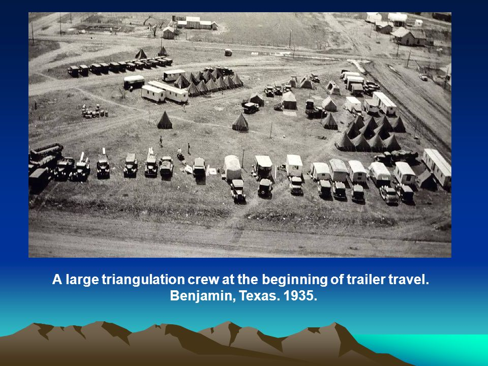 A large triangulation crew at the beginning of trailer travel. Benjamin, Texas. 1935.
