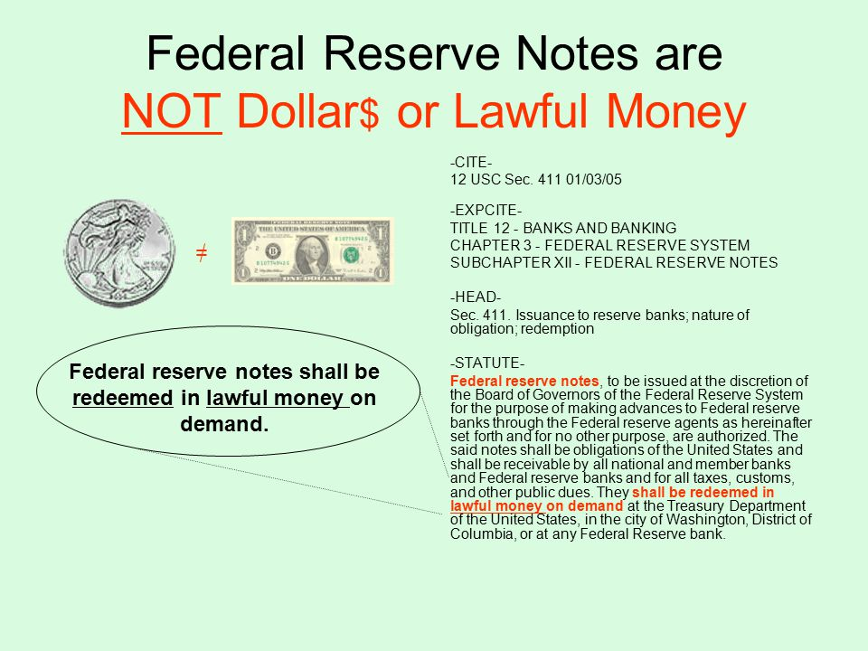 Federal Reserve Notes are NOT Dollar $ or Lawful Money -CITE- 12 USC Sec.