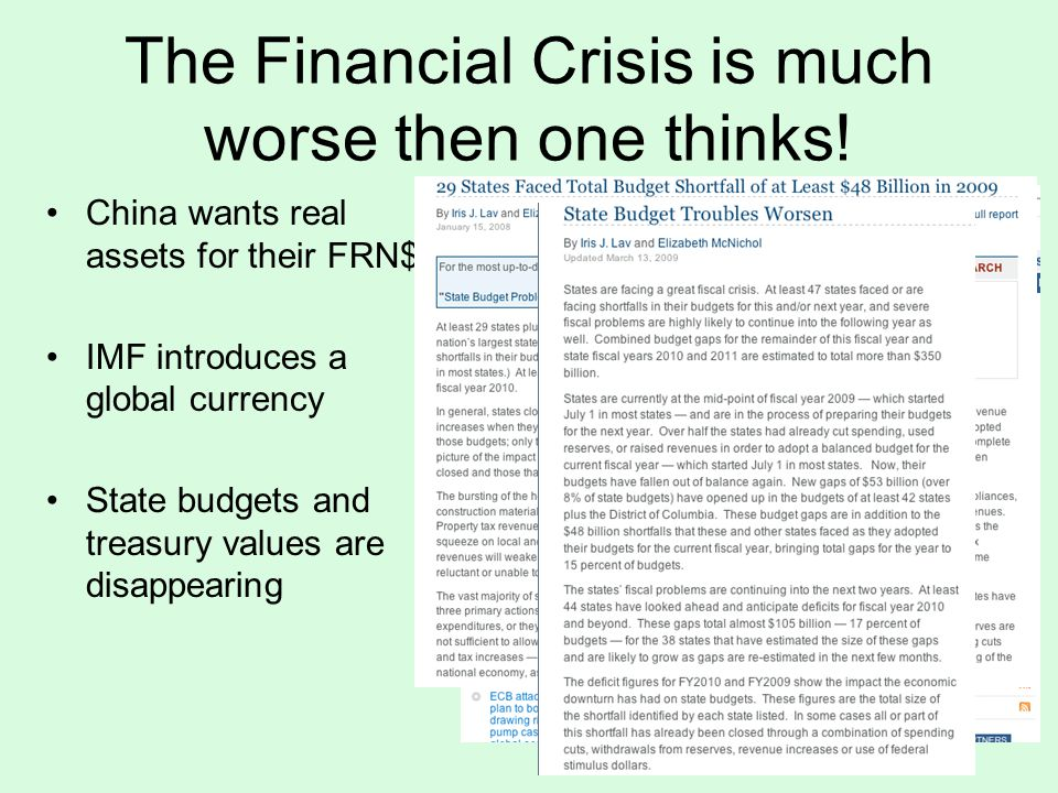 The Financial Crisis is much worse then one thinks.