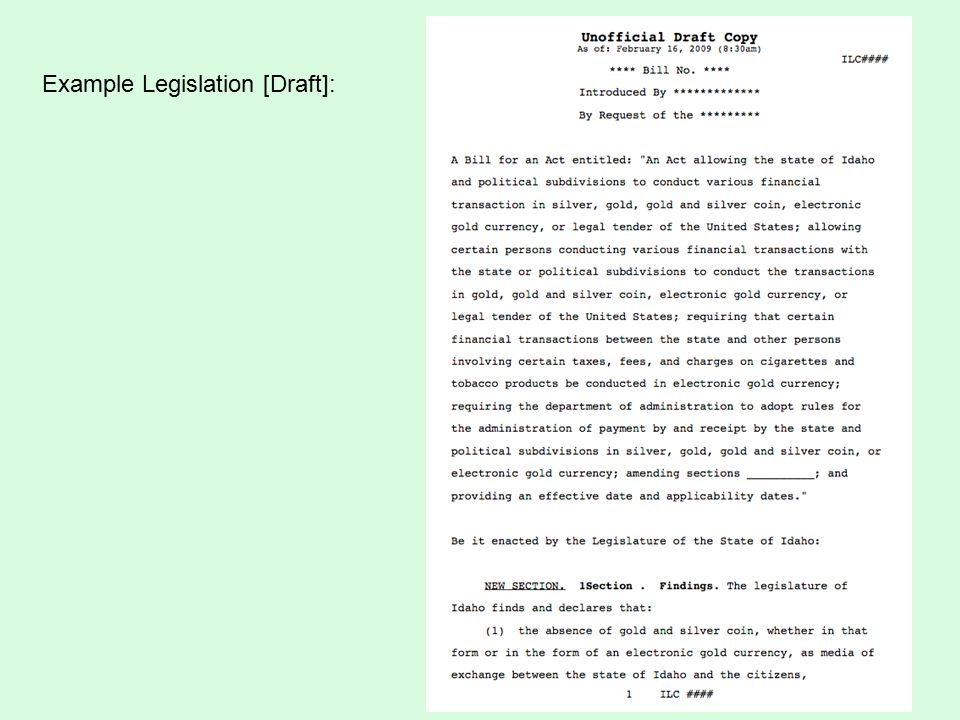 Example Legislation [Draft]: