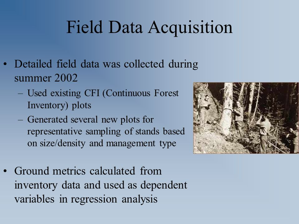 Field Data Acquisition Detailed field data was collected during summer 2002 –Used existing CFI (Continuous Forest Inventory) plots –Generated several