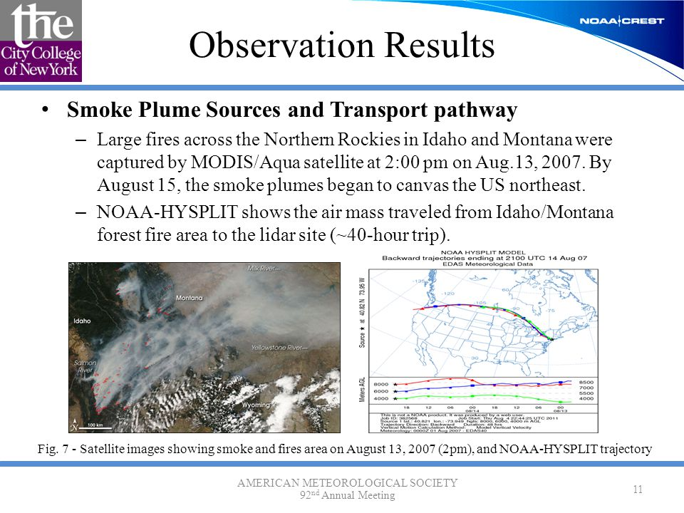 Observation Results Smoke Plume Sources and Transport pathway – Large fires across the Northern Rockies in Idaho and Montana were captured by MODIS/Aq