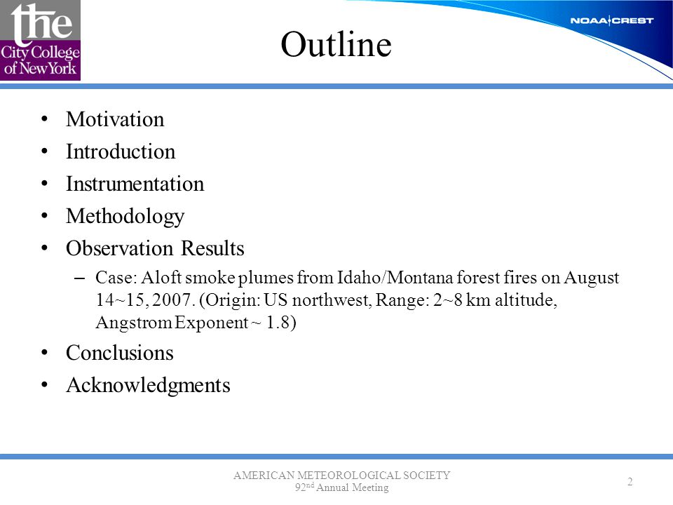 Outline Motivation Introduction Instrumentation Methodology Observation Results – Case: Aloft smoke plumes from Idaho/Montana forest fires on August 14~15, 2007.