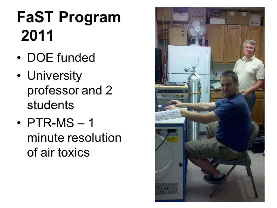FaST Program 2011 DOE funded University professor and 2 students PTR-MS – 1 minute resolution of air toxics