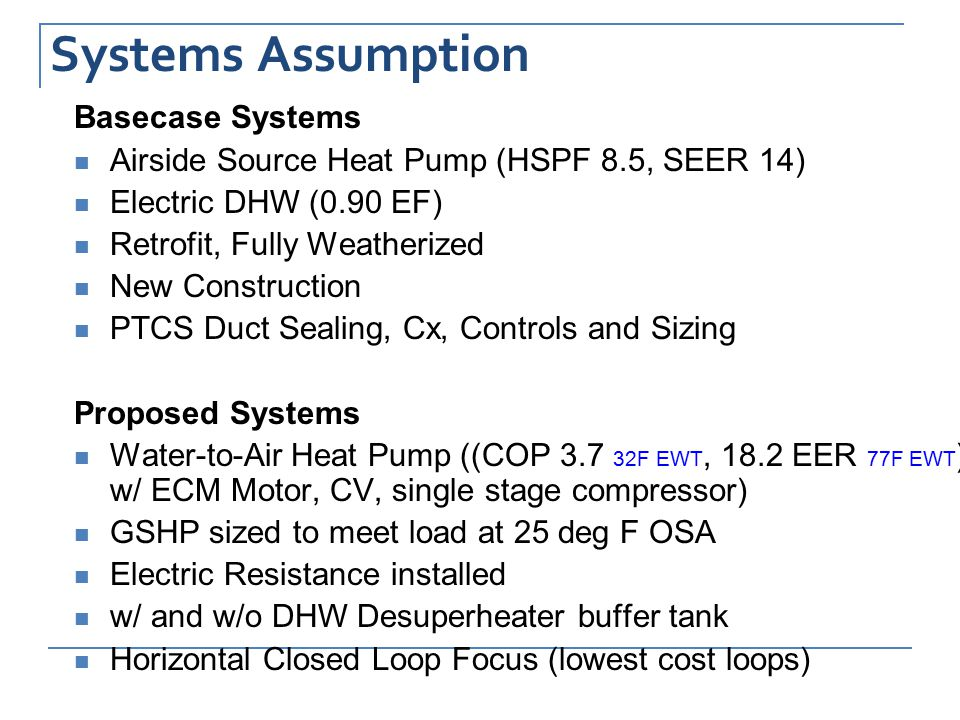 Systems Assumption Basecase Systems Airside Source Heat Pump (HSPF 8.5, SEER 14) Electric DHW (0.90 EF) Retrofit, Fully Weatherized New Construction PTCS Duct Sealing, Cx, Controls and Sizing Proposed Systems Water-to-Air Heat Pump ((COP 3.7 32F EWT, 18.2 EER 77F EWT ) w/ ECM Motor, CV, single stage compressor) GSHP sized to meet load at 25 deg F OSA Electric Resistance installed w/ and w/o DHW Desuperheater buffer tank Horizontal Closed Loop Focus (lowest cost loops)