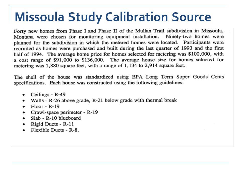 Missoula Study Calibration Source