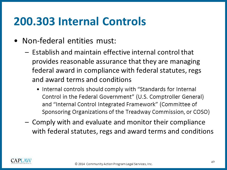 40 200.303 Internal Controls Non-federal entities must: –Establish and maintain effective internal control that provides reasonable assurance that the
