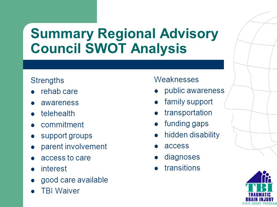 Summary Regional Advisory Council SWOT Analysis Strengths rehab care awareness telehealth commitment support groups parent involvement access to care