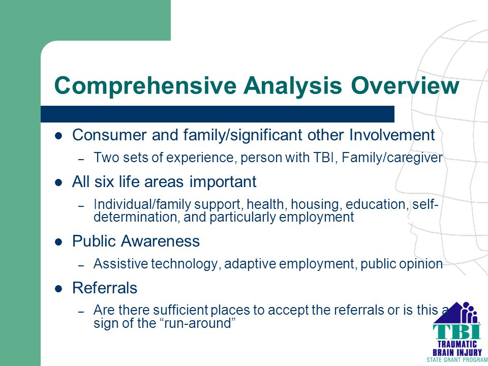 Comprehensive Analysis Overview Consumer and family/significant other Involvement – Two sets of experience, person with TBI, Family/caregiver All six