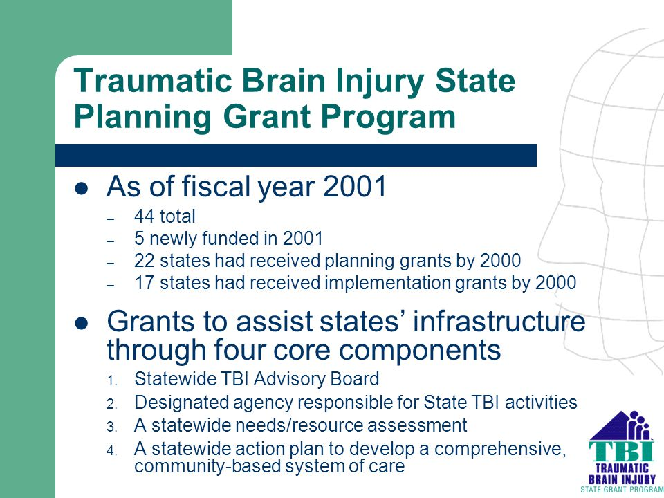 Traumatic Brain Injury State Planning Grant Program As of fiscal year 2001 – 44 total – 5 newly funded in 2001 – 22 states had received planning grant