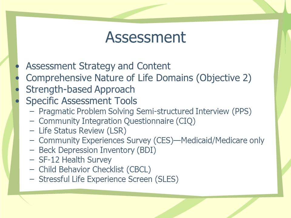 Assessment Assessment Strategy and Content Comprehensive Nature of Life Domains (Objective 2) Strength-based Approach Specific Assessment Tools –Pragm