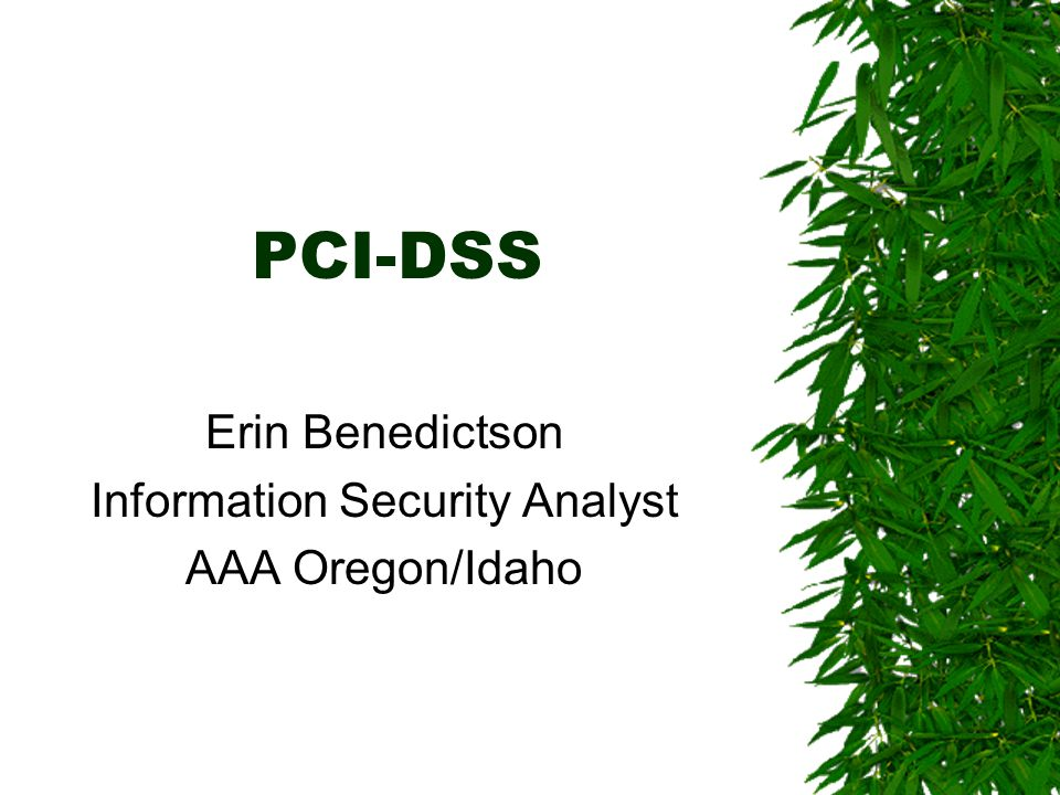 PCI-DSS Erin Benedictson Information Security Analyst AAA Oregon/Idaho