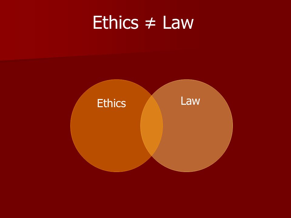 Ethics Law Ethics ≠ Law