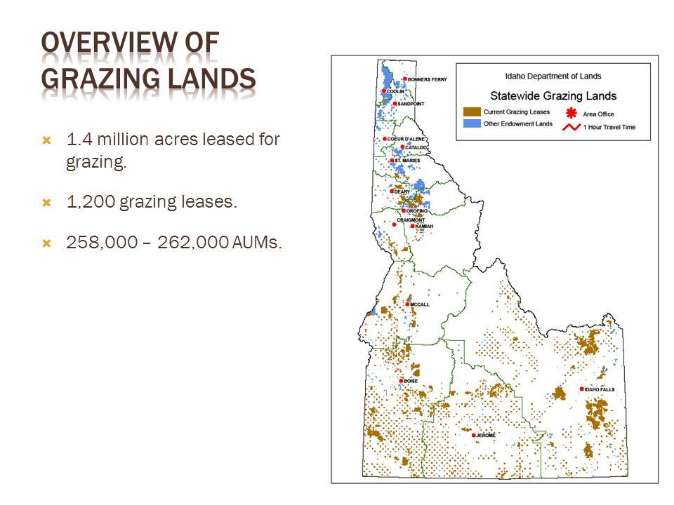  1.4 million acres leased for grazing.  1,200 grazing leases.  258,000 – 262,000 AUMs.