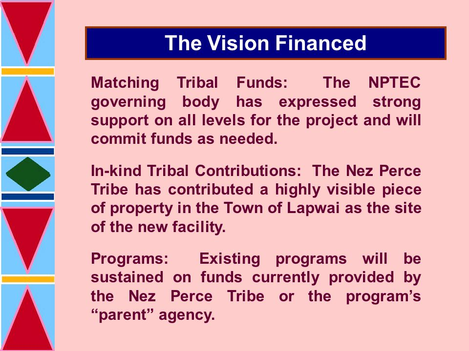 The Vision Financed Matching Tribal Funds: The NPTEC governing body has expressed strong support on all levels for the project and will commit funds as needed.