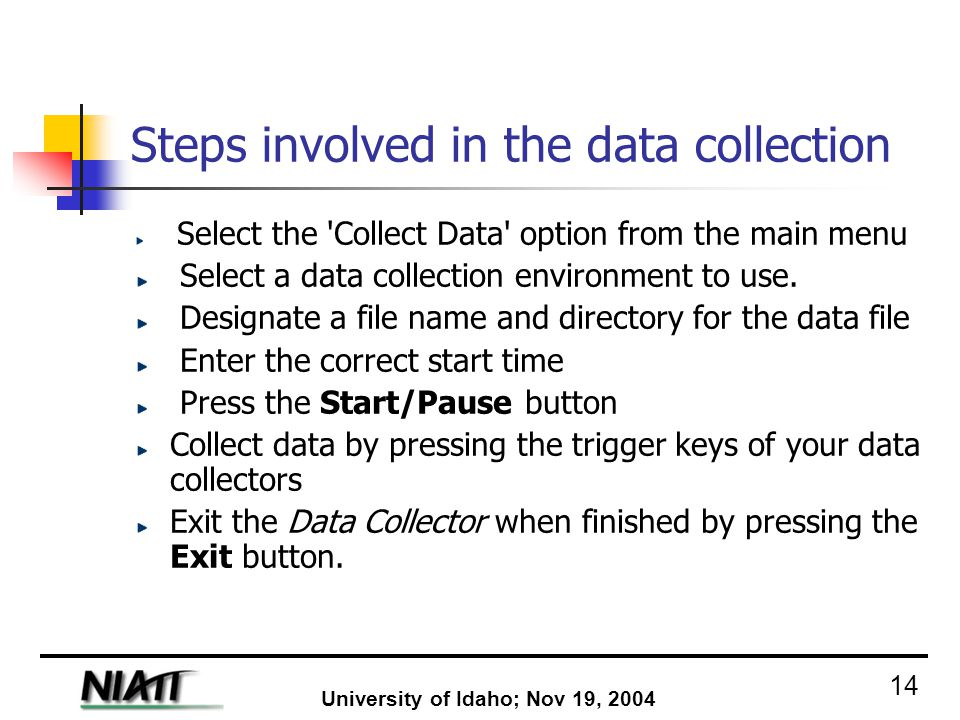 Steps involved in the data collection Select the Collect Data option from the main menu Select a data collection environment to use.