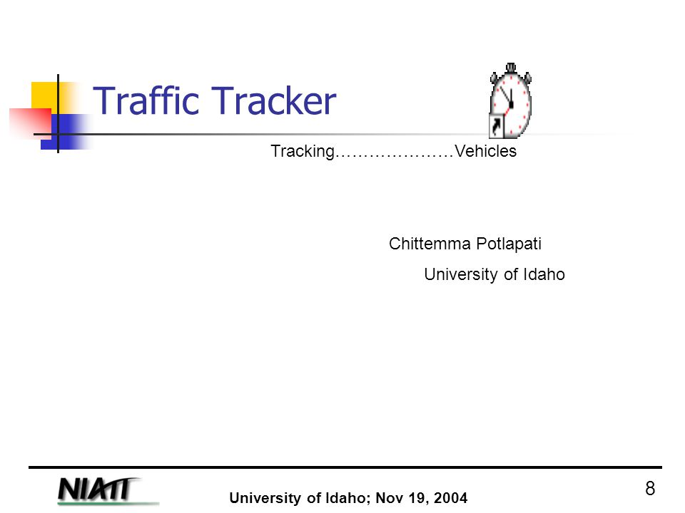 History and Purpose : Developed by National Institute for Advanced Transportation Technology (NIATT) Traffic Tracker is a Windows 98/95/NT program that allows you to collect time data using a data collection environment that you design.