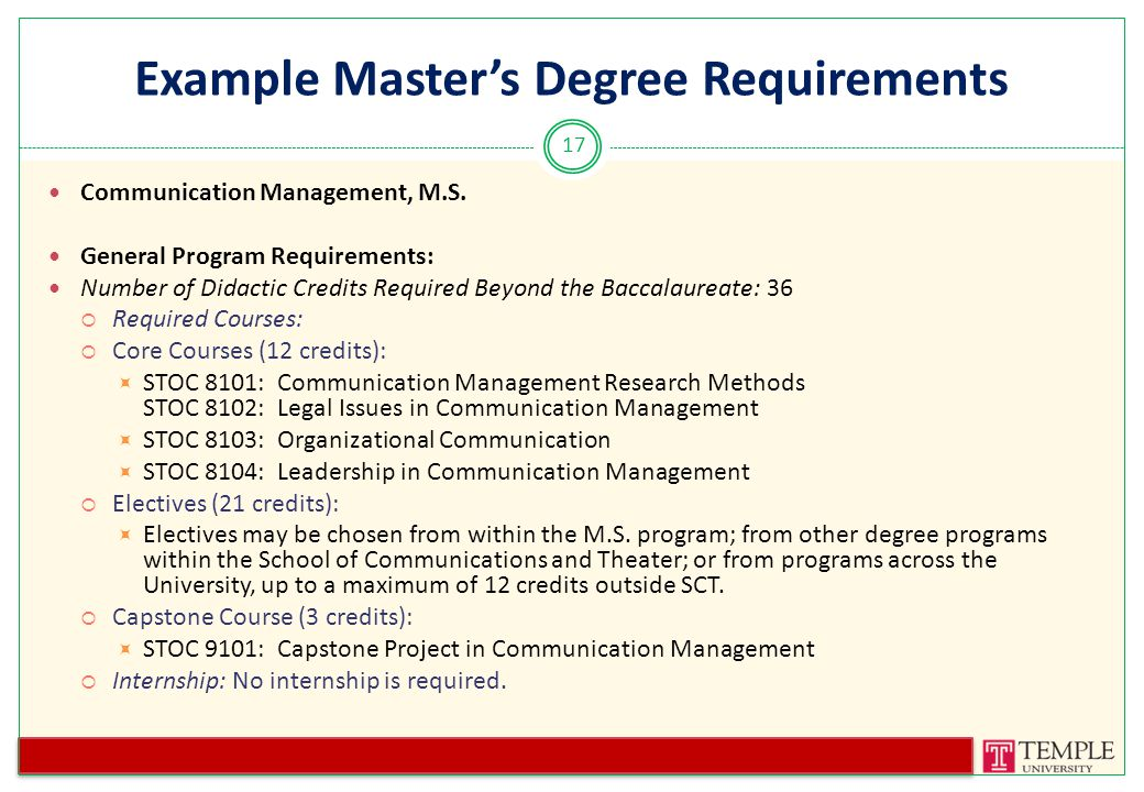 Example Master's Degree Requirements Communication Management, M.S.