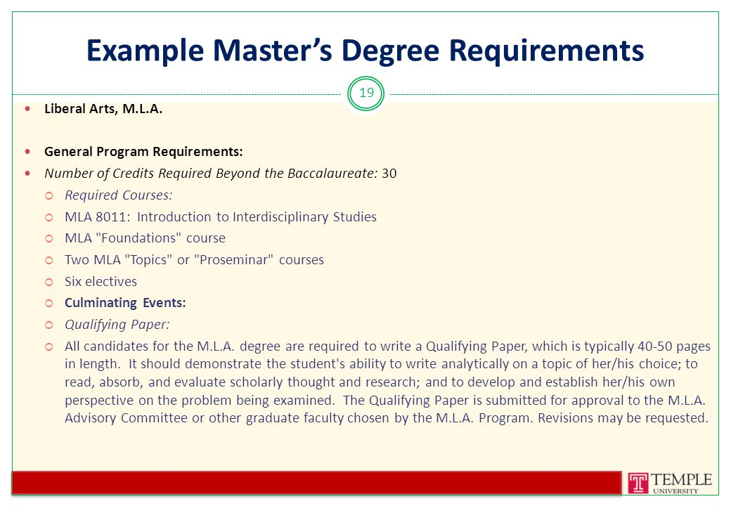 Example Master's Degree Requirements Liberal Arts, M.L.A.