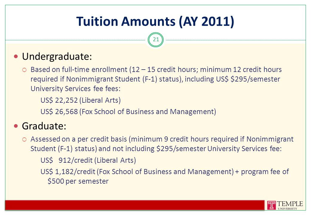 Tuition Amounts (AY 2011) Undergraduate:  Based on full-time enrollment (12 – 15 credit hours; minimum 12 credit hours required if Nonimmigrant Student (F-1) status), including US$ $295/semester University Services fee fees: US$ 22,252 (Liberal Arts) US$ 26,568 (Fox School of Business and Management) Graduate:  Assessed on a per credit basis (minimum 9 credit hours required if Nonimmigrant Student (F-1) status) and not including $295/semester University Services fee: US$ 912/credit (Liberal Arts) US$ 1,182/credit (Fox School of Business and Management) + program fee of $500 per semester 21