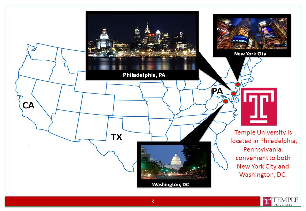 3 Temple University is located in Philadelphia, Pennsylvania, convenient to both New York City and Washington, DC.
