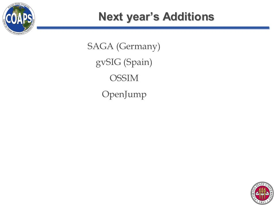 Next year's Additions SAGA (Germany) gvSIG (Spain) OSSIM OpenJump