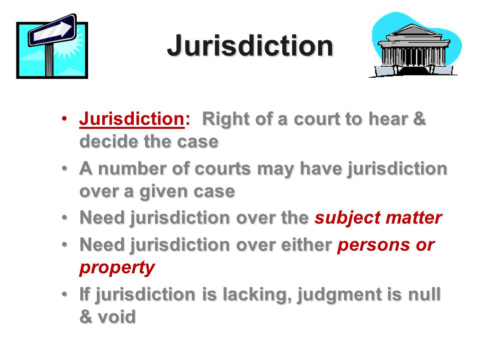 Jurisdiction Right of a court to hear & decide the caseJurisdiction: Right of a court to hear & decide the case A number of courts may have jurisdicti