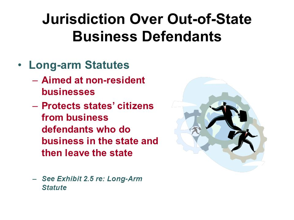Jurisdiction Over Out-of-State Business Defendants Long-arm Statutes –Aimed at non-resident businesses –Protects states' citizens from business defend