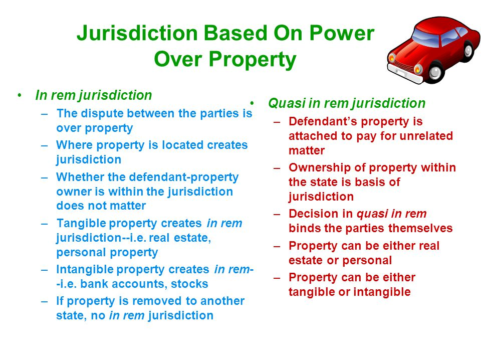 Jurisdiction Based On Power Over Property In rem jurisdiction –The dispute between the parties is over property –Where property is located creates jur