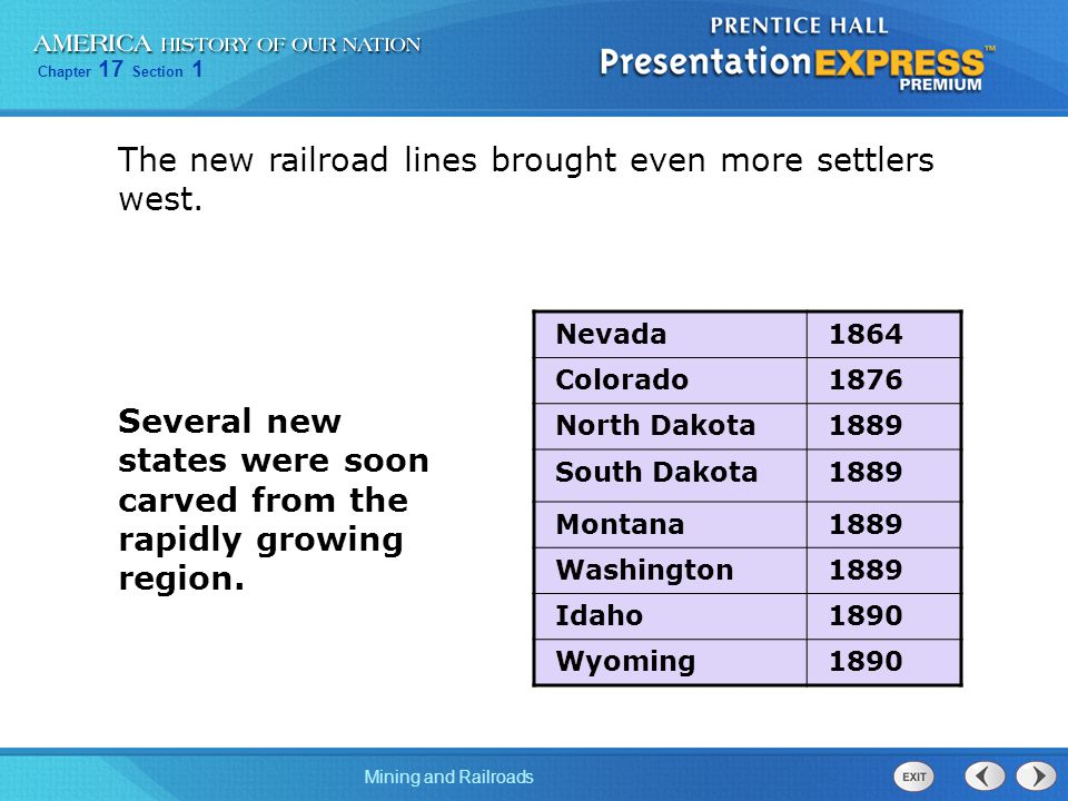 Chapter 17 Section 1 Mining and Railroads The new railroad lines brought even more settlers west.