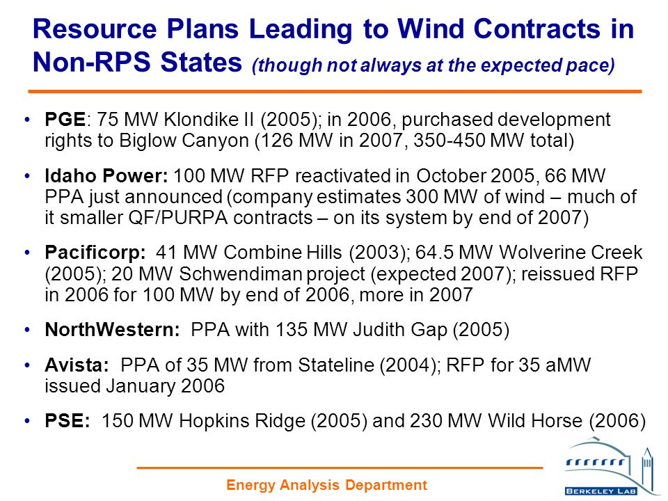Energy Analysis Department Resource Plans Leading to Wind Contracts in Non-RPS States (though not always at the expected pace) PGE: 75 MW Klondike II (2005); in 2006, purchased development rights to Biglow Canyon (126 MW in 2007, 350-450 MW total) Idaho Power: 100 MW RFP reactivated in October 2005, 66 MW PPA just announced (company estimates 300 MW of wind – much of it smaller QF/PURPA contracts – on its system by end of 2007) Pacificorp: 41 MW Combine Hills (2003); 64.5 MW Wolverine Creek (2005); 20 MW Schwendiman project (expected 2007); reissued RFP in 2006 for 100 MW by end of 2006, more in 2007 NorthWestern: PPA with 135 MW Judith Gap (2005) Avista: PPA of 35 MW from Stateline (2004); RFP for 35 aMW issued January 2006 PSE: 150 MW Hopkins Ridge (2005) and 230 MW Wild Horse (2006)