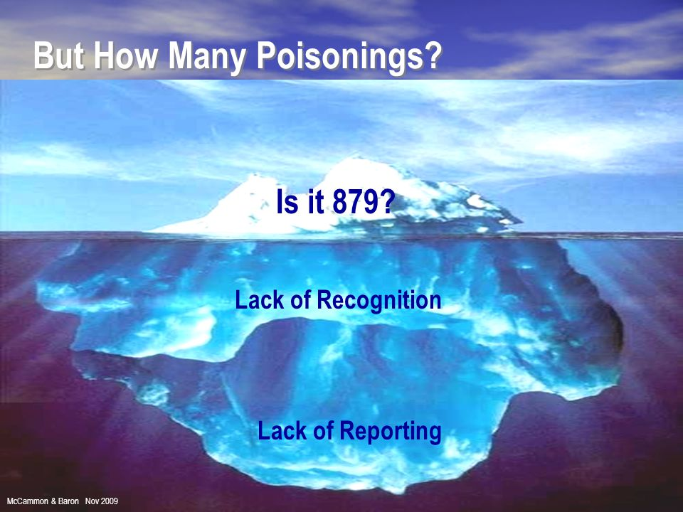 Lack of Recognition Lack of Reporting But How Many Poisonings? Is it 879? McCammon & Baron Nov 2009
