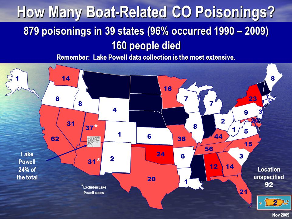 Idaho Poisonings: Lake Pend Orielle June 2001: A 61-year-old man was poisoned as he fished from the back of a slowly moving 2000 Bayliner Sierra Sun Cruiser 2855 cutty cabin boat.