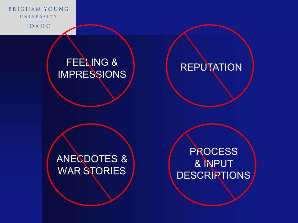 PROCESS & INPUT DESCRIPTIONS ANECDOTES & WAR STORIES REPUTATION FEELING & IMPRESSIONS