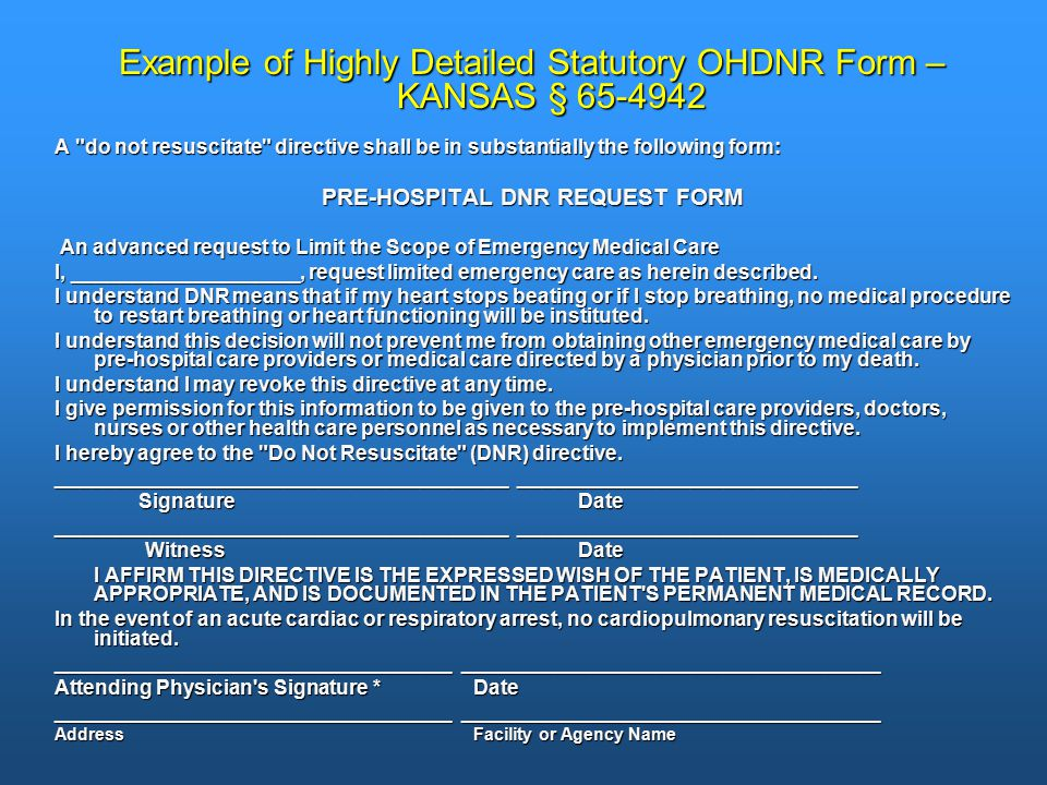 Example of Highly Detailed Statutory OHDNR Form – KANSAS § 65-4942 A