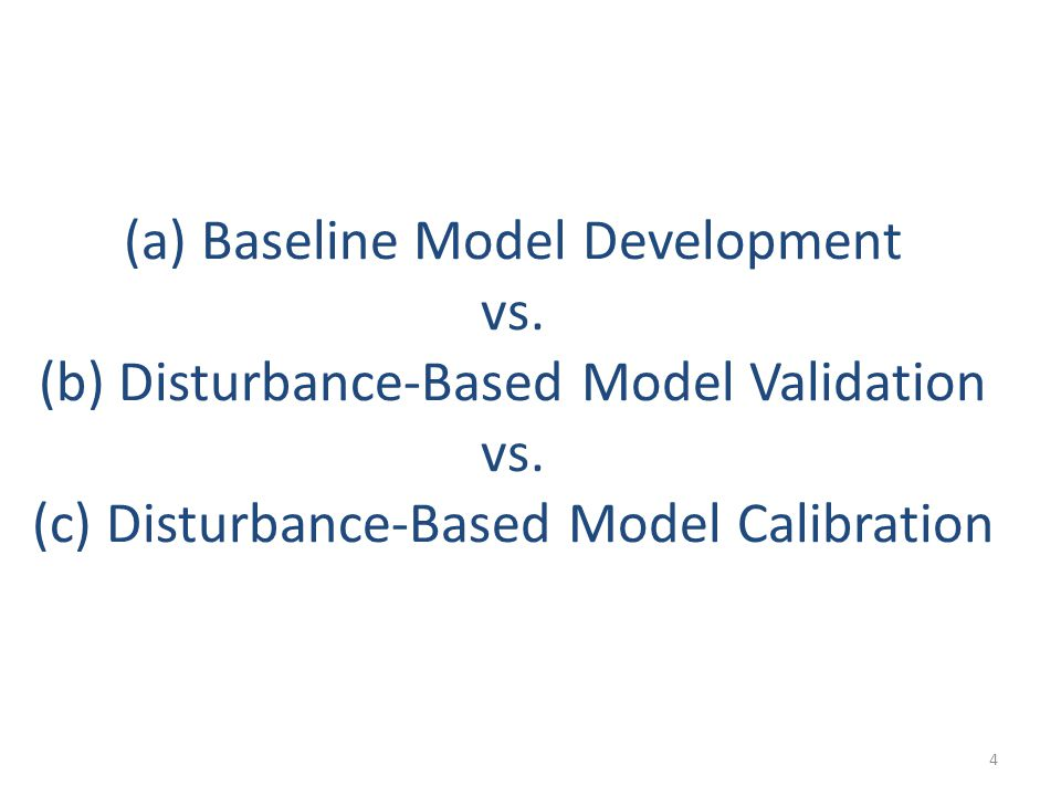 (a) Baseline Model Development vs. (b) Disturbance-Based Model Validation vs.