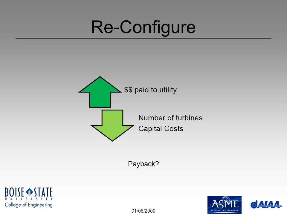 01/08/2009 Re-Configure $$ paid to utility Number of turbines Capital Costs Payback?