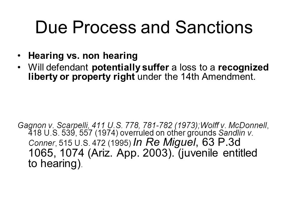 Due Process and Sanctions Hearing vs.
