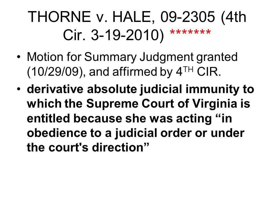 THORNE v. HALE, 09-2305 (4th Cir.