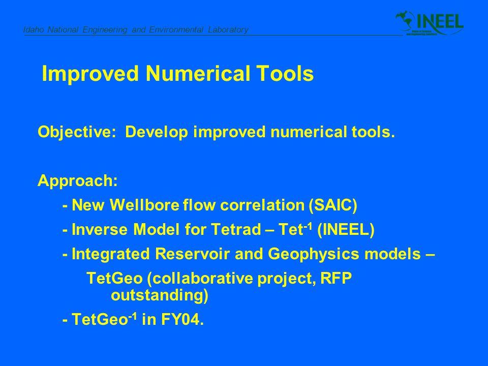 Idaho National Engineering and Environmental Laboratory Improved Numerical Tools Objective: Develop improved numerical tools.