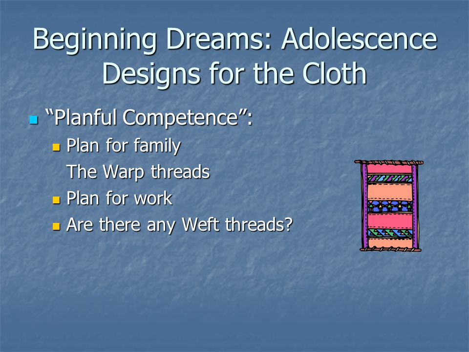 "Beginning Dreams: Adolescence Designs for the Cloth ""Planful Competence"": ""Planful Competence"": Plan for family Plan for family The Warp threads Plan"