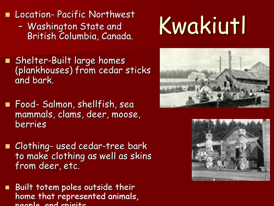 Kwakiutl Location- Pacific Northwest Location- Pacific Northwest –Washington State and British Columbia, Canada. Shelter-Built large homes (plankhouse