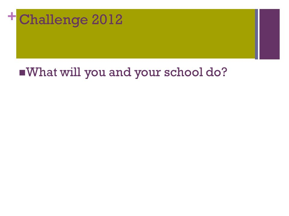 + Challenge 2012 What will you and your school do