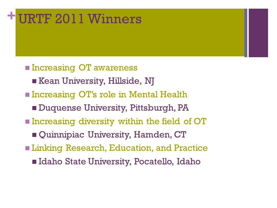 + URTF 2011 Winners Increasing OT awareness Kean University, Hillside, NJ Increasing OT's role in Mental Health Duquense University, Pittsburgh, PA Increasing diversity within the field of OT Quinnipiac University, Hamden, CT Linking Research, Education, and Practice Idaho State University, Pocatello, Idaho