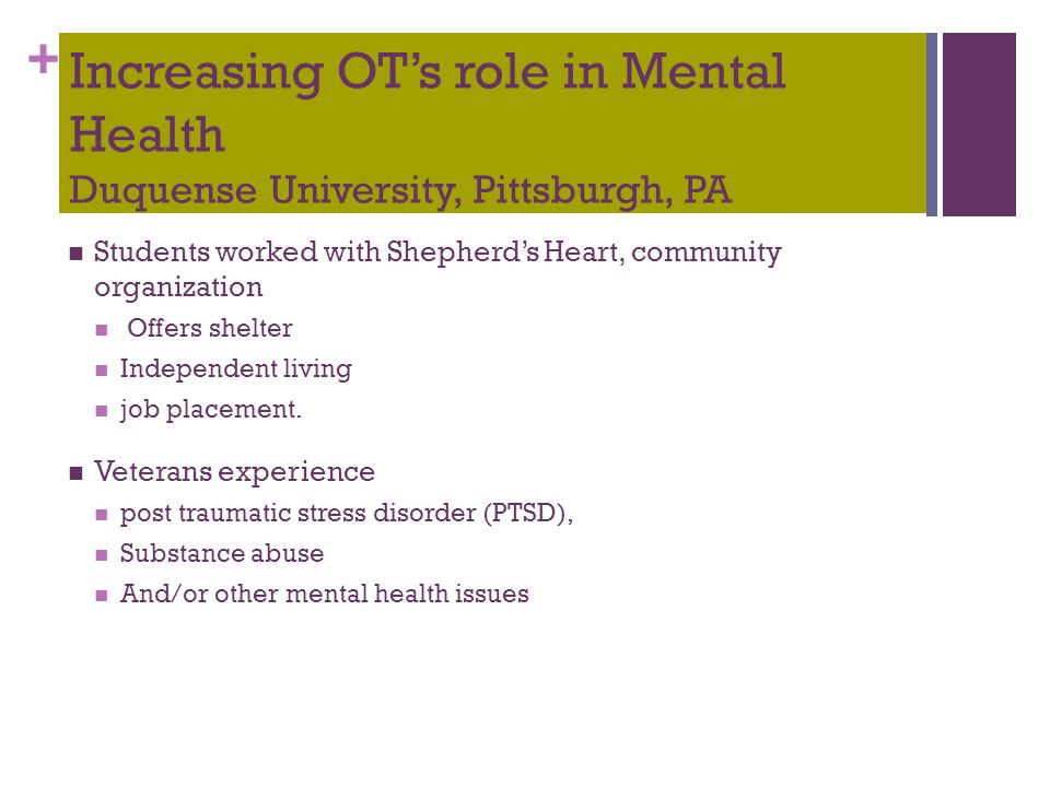 + Increasing OT's role in Mental Health Duquense University, Pittsburgh, PA Students worked with Shepherd's Heart, community organization Offers shelt