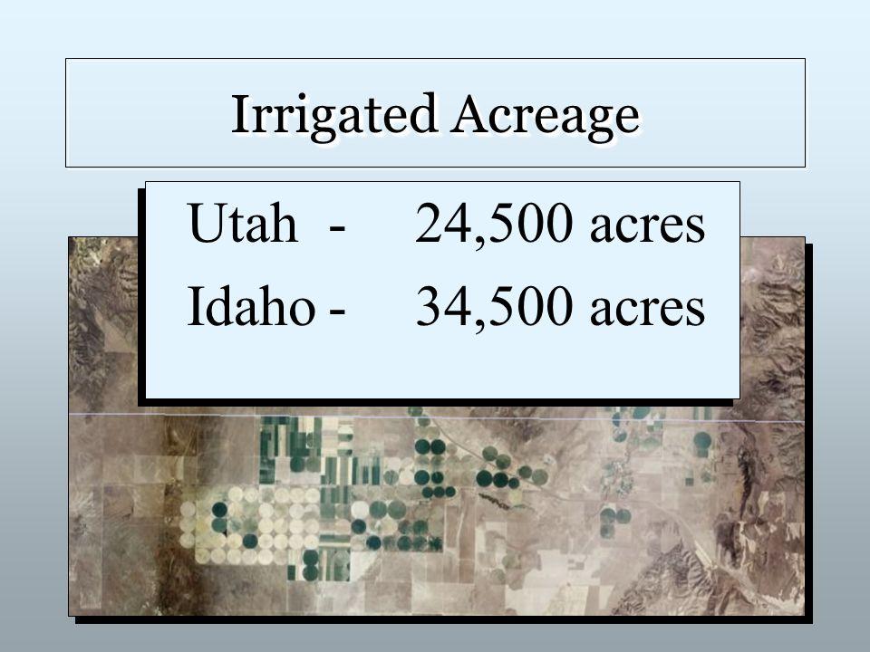 Irrigated Acreage Utah-24,500 acres Idaho-34,500 acres Utah-24,500 acres Idaho-34,500 acres
