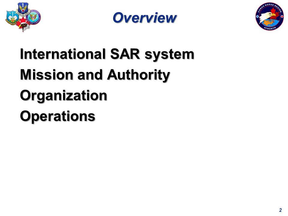 2 International SAR system Mission and Authority OrganizationOperations Overview