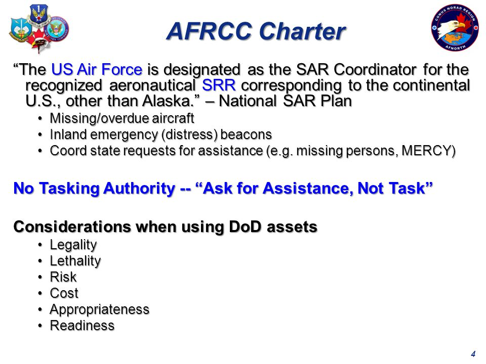 15 7412 7412INCIDENTS AFRCC 190SAVES ~68% SOLVED WITHOUT FEDERAL RESOURCES COMMITTED 20/DAY 6/DAY 1 LIFE EVERY 2 DAYS 2008 Mission Activity 2344 2344MISSIONS OVER 14,754 SAVES SINCE ACTIVATION IN 1974
